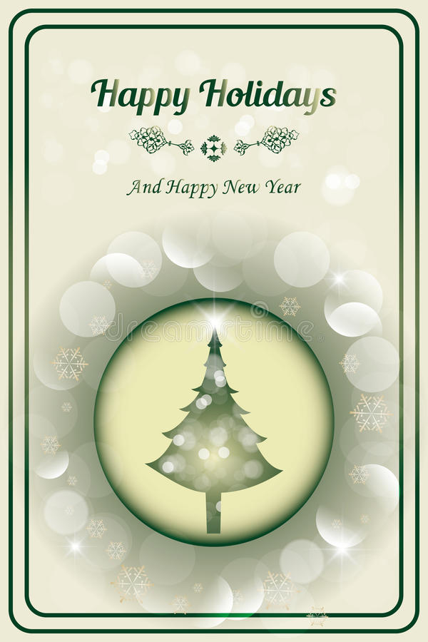 Xmas card. With tree and glitter and the words Happy Holidays And Happy New Year royalty free illustration