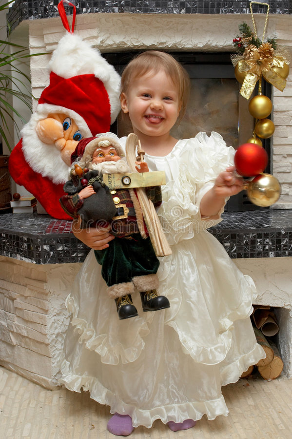Xmas Child with Santa Claus stock photography