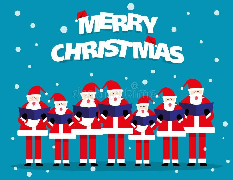 Xmas chorus. Santa singing in christmas festival. Concept vector. Illustration vector illustration