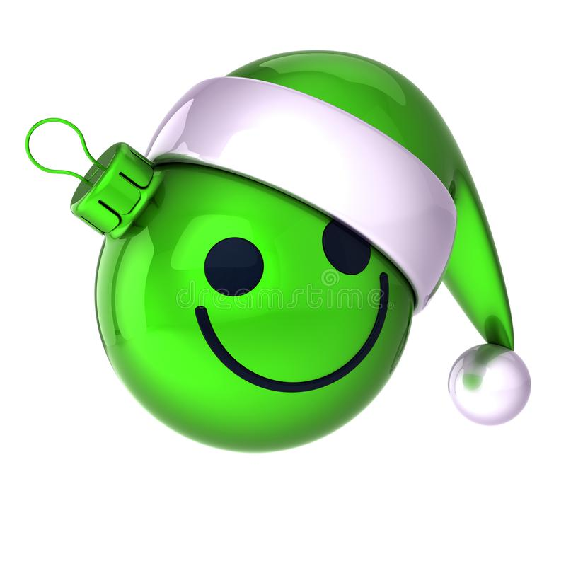 Xmas Christmas ball smiling face emoticon. New Year`s Eve bauble. Xmas Christmas ball smiling face emoticon. New Year`s Eve Day bauble Santa Claus hat cartoon stock photography