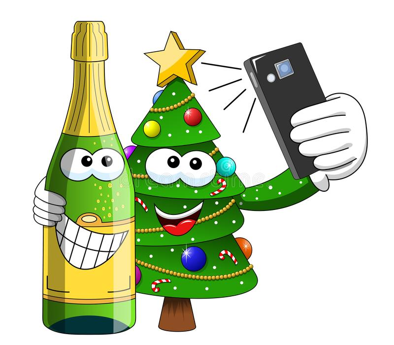 xmas christmas tree sparkling wine bottle mascot character selfie with smartphone isolated stock illustration