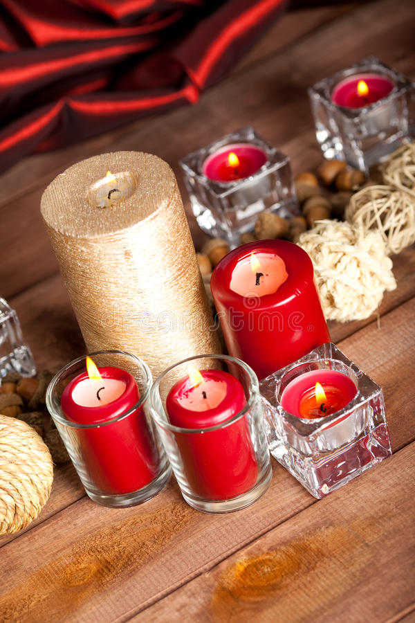 Xmas decoration. Candles and balls royalty free stock images