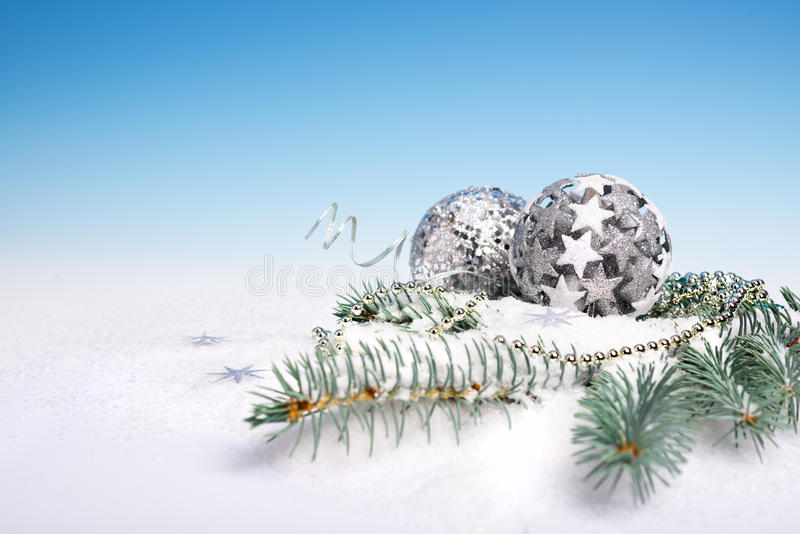 Xmas decorations. On blue gradient background royalty free stock photography