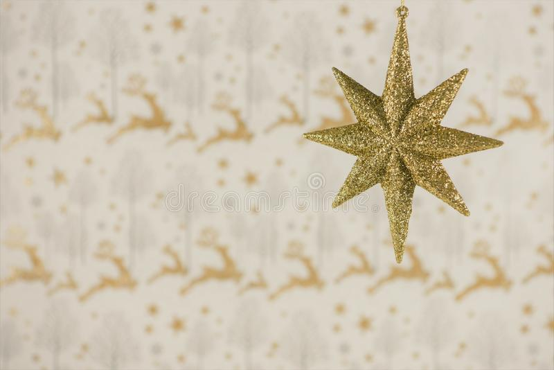 Christmas photography image christmas decoration hanging up of gold glitter star with reindeer wrapping paper background royalty free stock image
