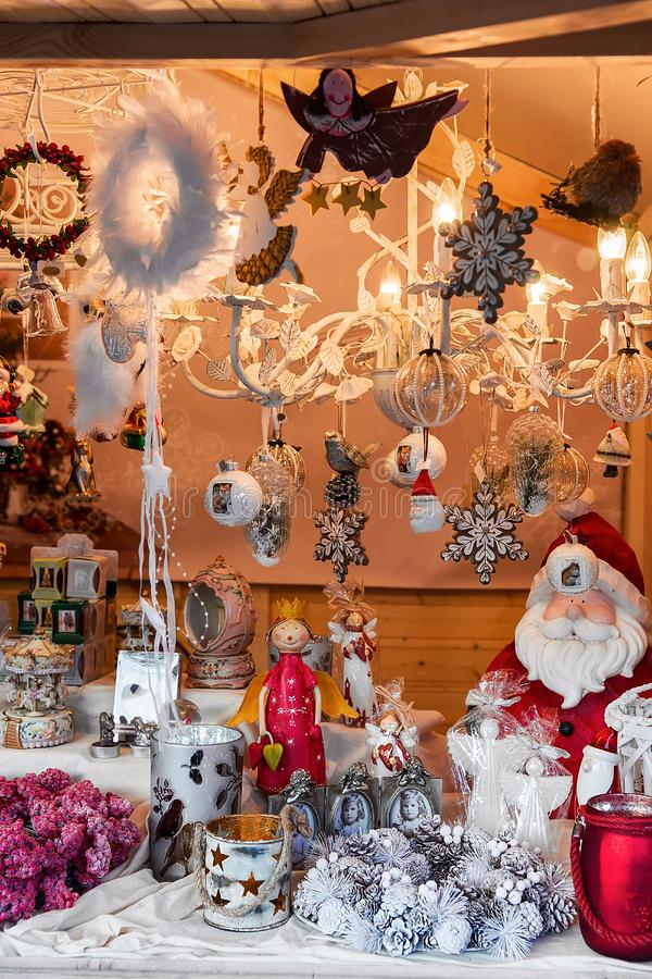 Xmas decorations and toys at Vilnius Christmas Bazaar during Advent royalty free stock images