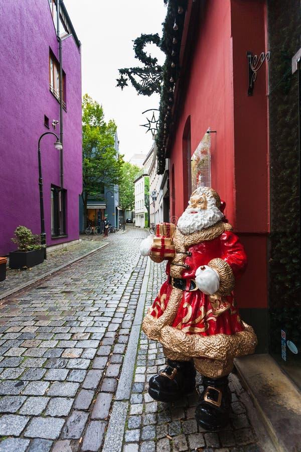 Xmas dekoracja w Bremen mieście w jesieni obraz stock