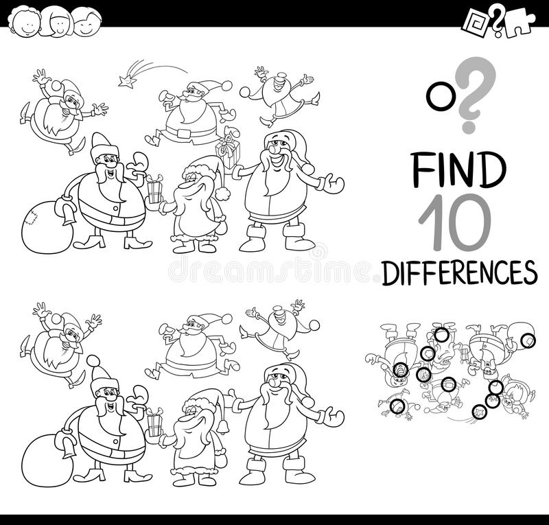 Download Xmas Difference Game Coloring Page Stock Vector