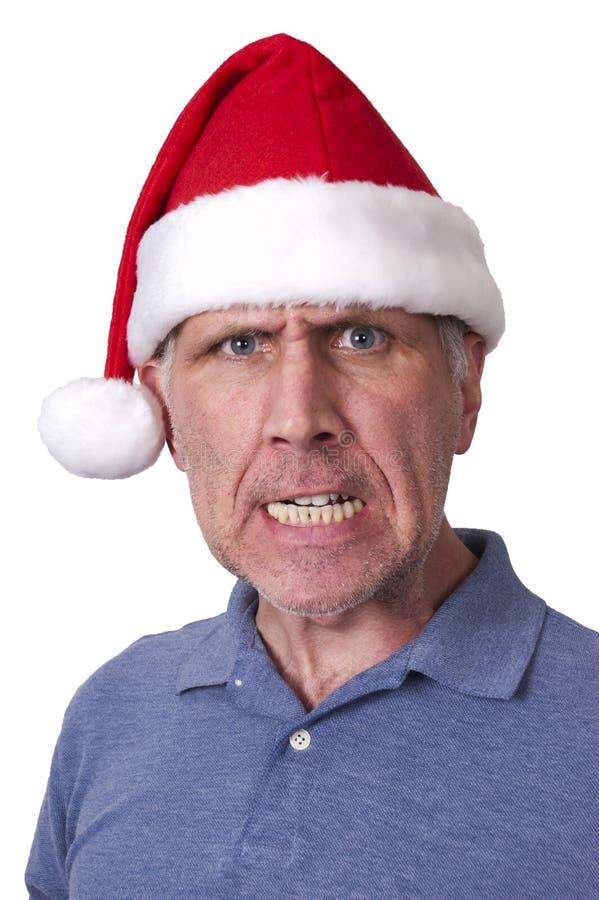 Xmas do Natal do chapéu de Papai Noel do homem do meio da farsa de Bah fotos de stock