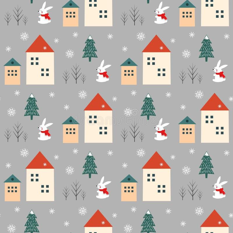 Xmas drzewa, płatków śniegu, królika i domów bezszwowy wzór na popielatym tle, ilustracja wektor