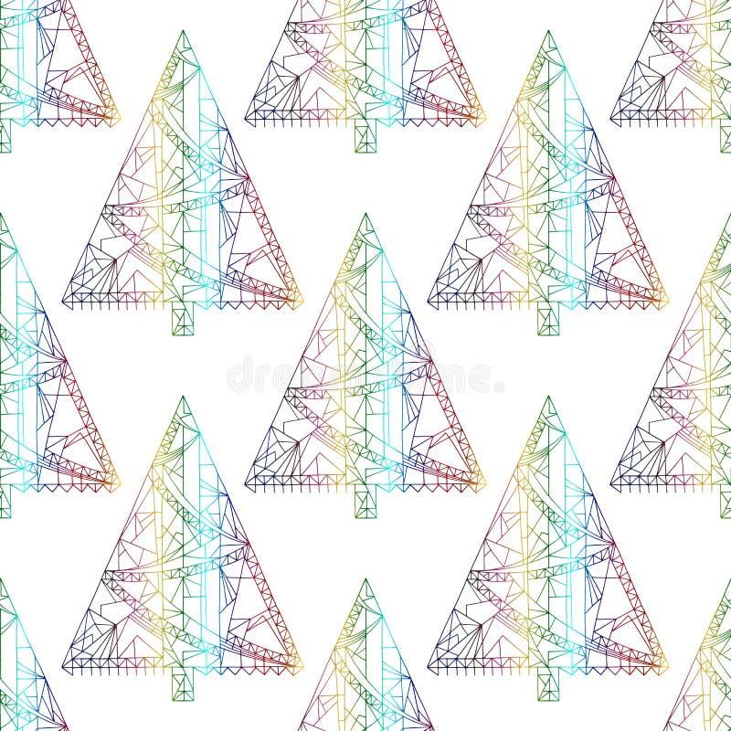 Xmas drzewa wzór Abstrakcjonistyczny Bożenarodzeniowy bezszwowy tło w nowożytnym stylu Zima wakacji wektorowa tekstura dla tapety royalty ilustracja