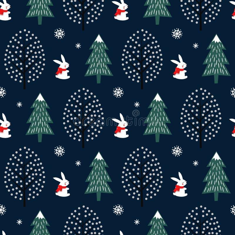 Xmas drzewo, płatki śniegu, królika bezszwowy wzór na zmroku - błękitny tło royalty ilustracja