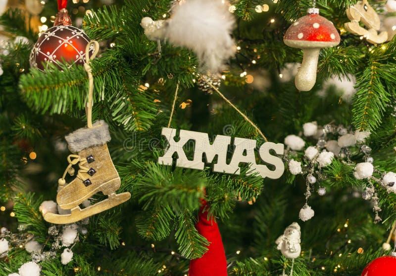 Xmas drzewo z dekoracją fotografia royalty free