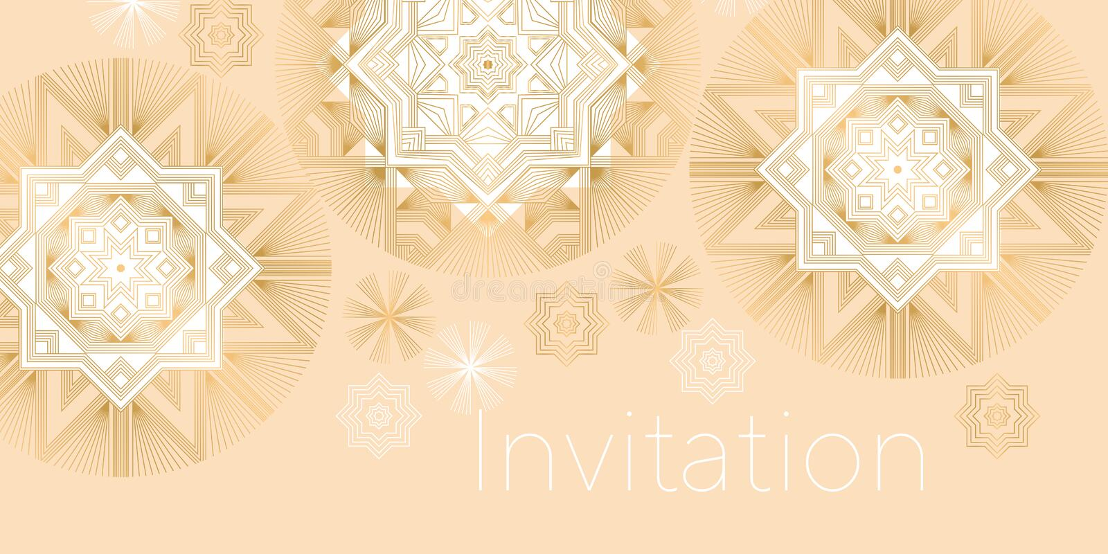 Xmas elegant geometric snowflakes. Christmas and new year beige luxury decorative pattern for header, card, invitation, poster, stock illustration