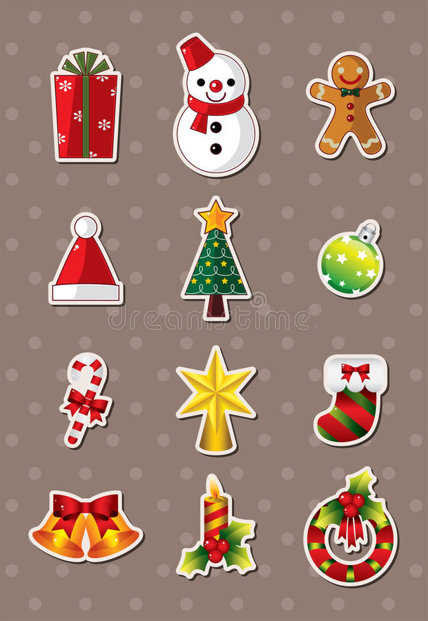 Xmas-elementetiketter stock illustrationer