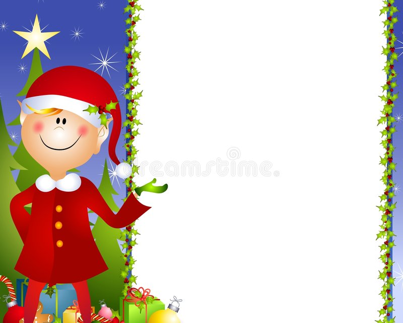 Xmas Elf Background. A clip art illustration of a Christmas Santa elf standing and pointing as if to present something with tree, gifts and holly