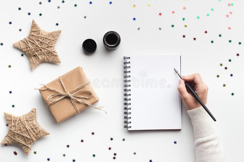 Xmas empty note with calligraphy handwriting message royalty free stock photo