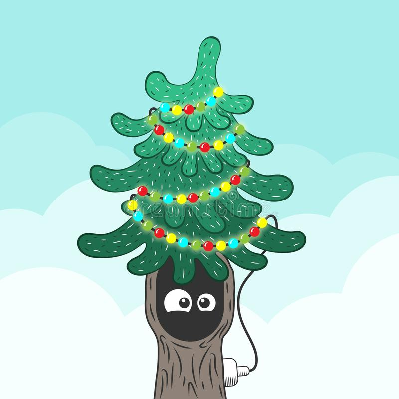 Xmas fir tree with eyes in the hollow. Flat style stock photos