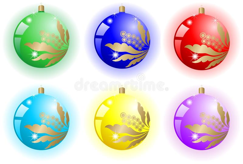 Xmas Floral Ball Set Stock Images
