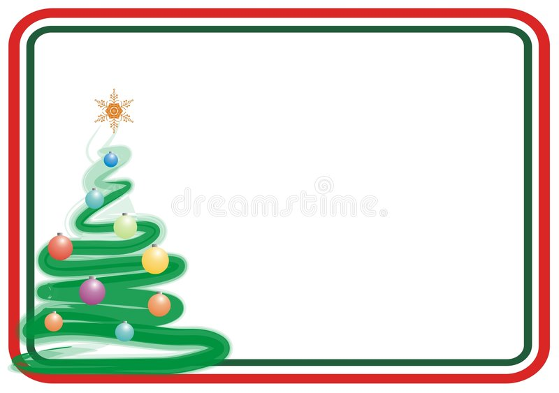 Xmas frame. Color xmas tree frame for greeting card vector illustration
