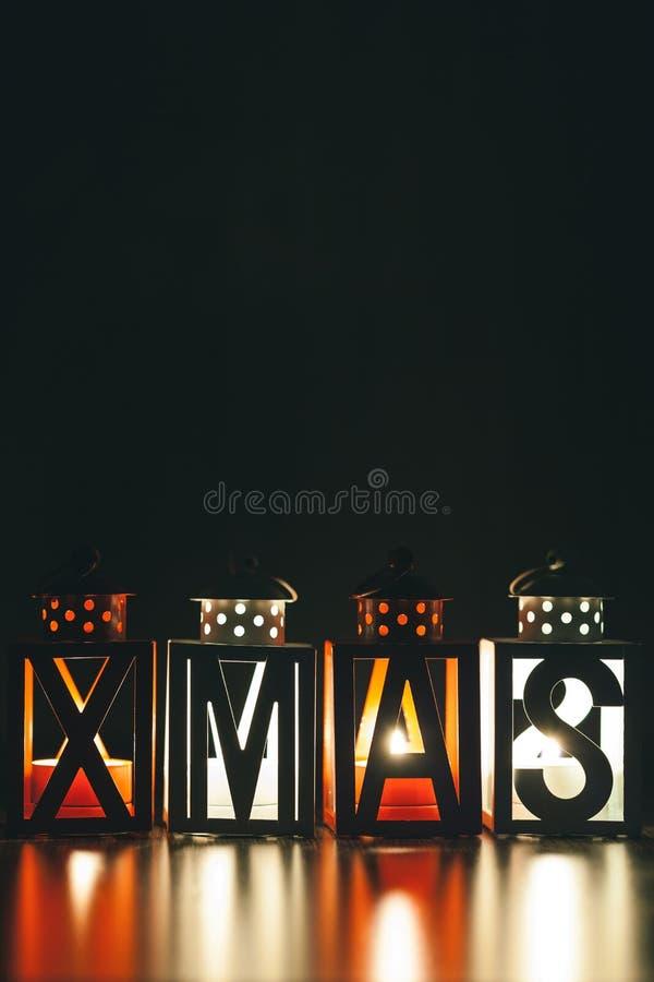 Xmas-garnering med stearinljuslyktor fotografering för bildbyråer
