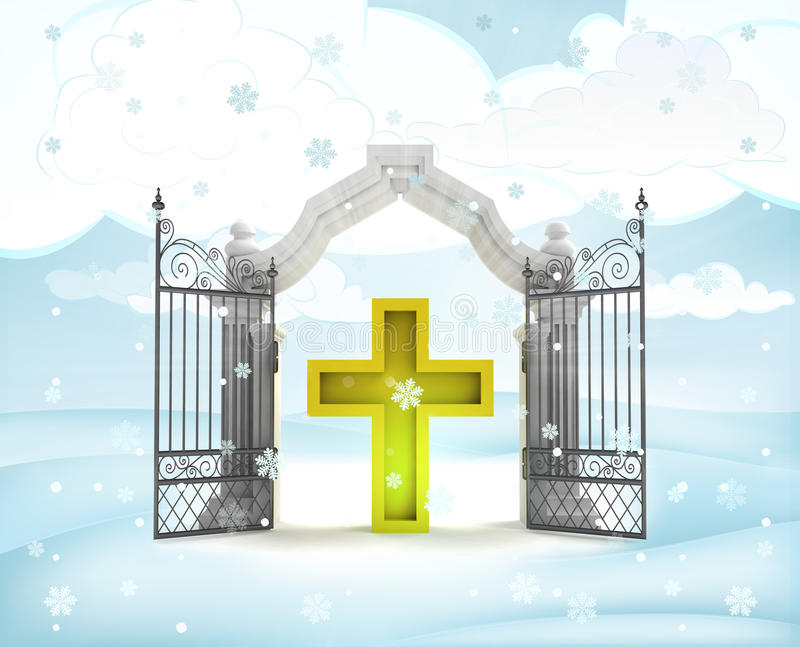 Xmas gate entrance with golden cross in winter snowfall stock illustration