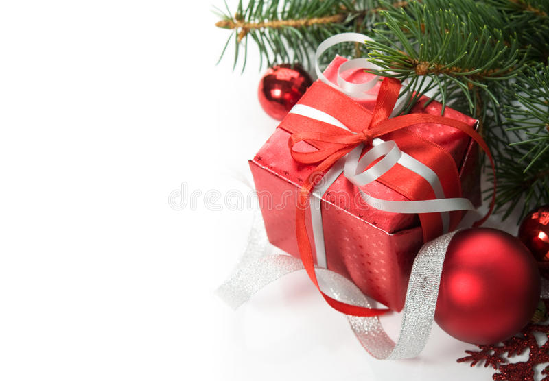 Xmas gift box and ornaments on the white stock photo image of noel download xmas gift box and ornaments on the white stock photo image of noel negle Choice Image