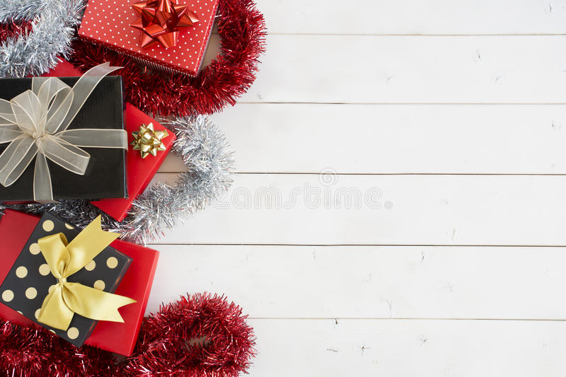 Xmas gift boxes on wooden table royalty free stock photo