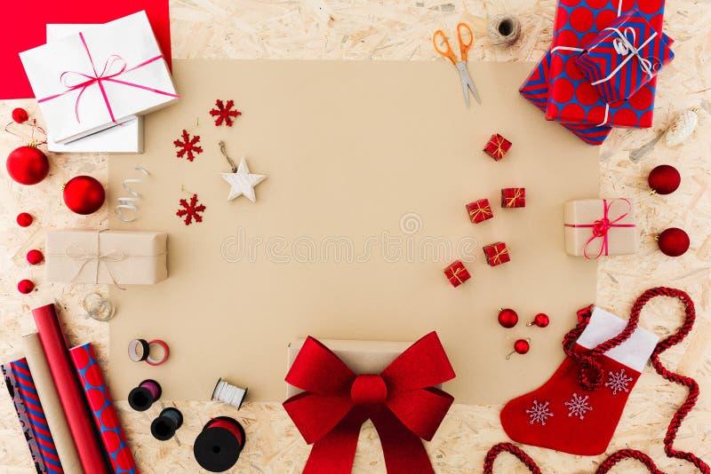 Xmas gift wrap set. Photo of red seasonal xmas gift wrap set stock image