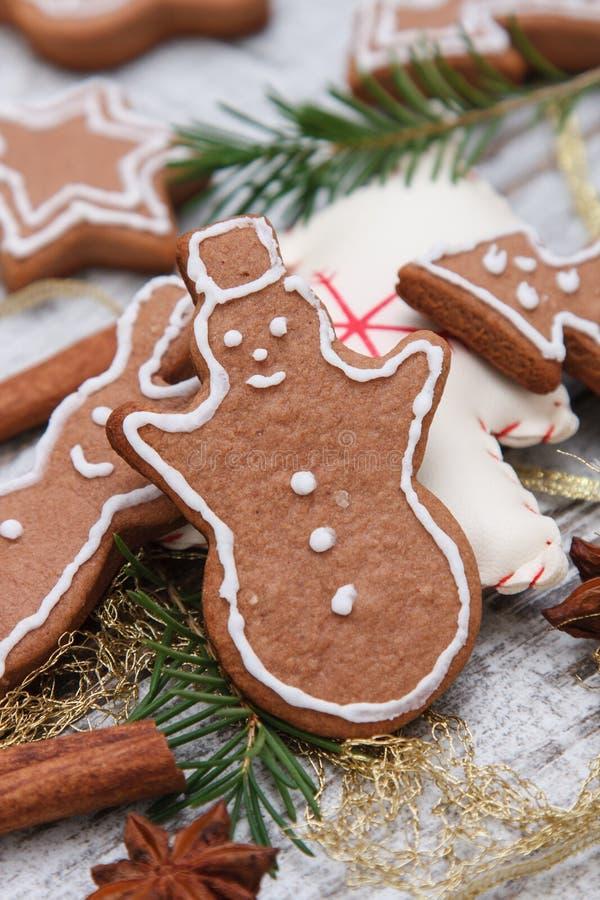 Xmas gingerbread cookies royalty free stock photo