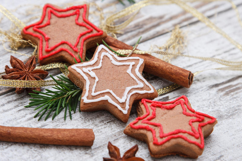 Xmas gingerbread cookies stock photography