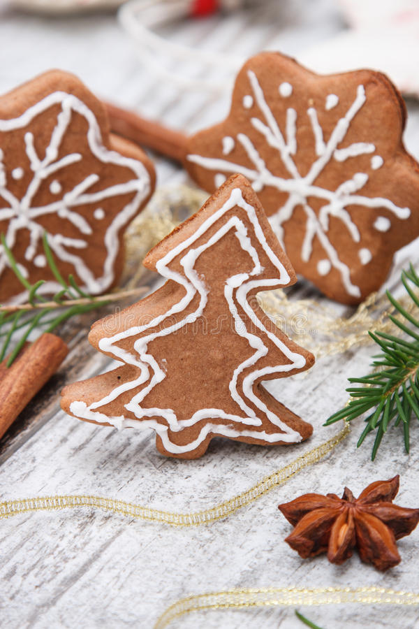 Xmas gingerbread cookies royalty free stock photography