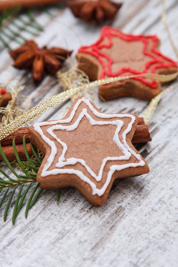 Xmas gingerbread cookies royalty free stock photos