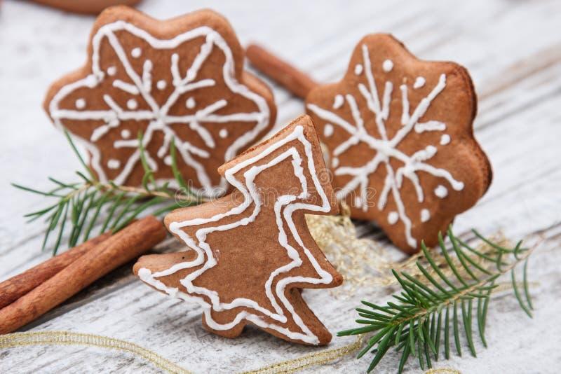 Xmas gingerbread cookies stock photos