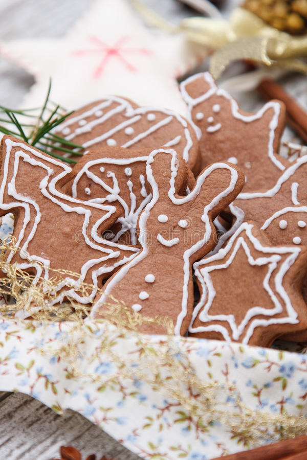 Xmas gingerbread cookies. Funny homemade xmas gingerbread cookies stock photo