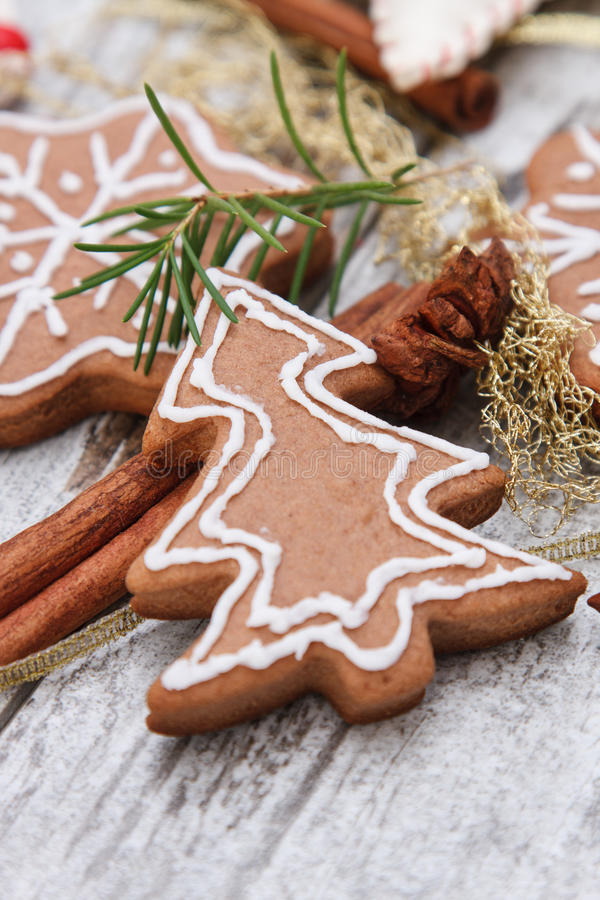 Xmas gingerbread cookies stock photo