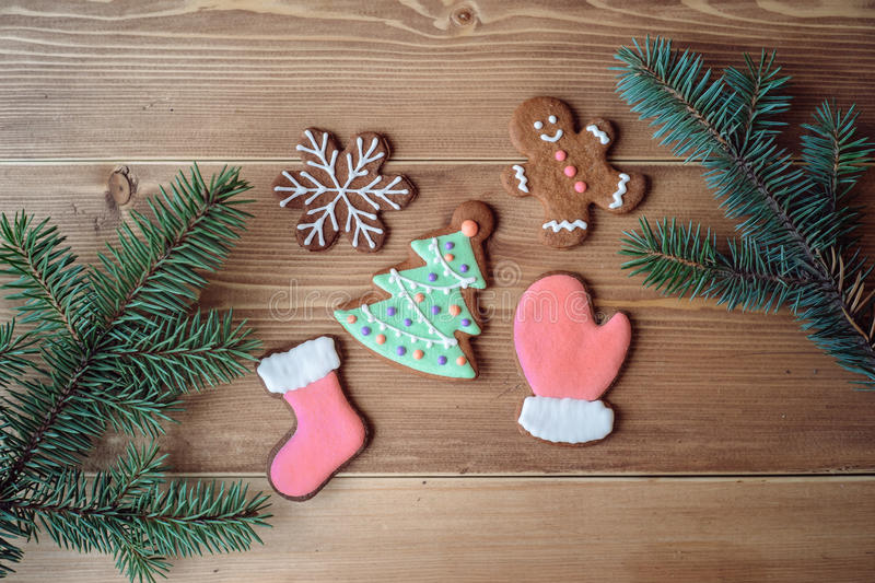 Xmas gingerbread cookies royalty free stock images