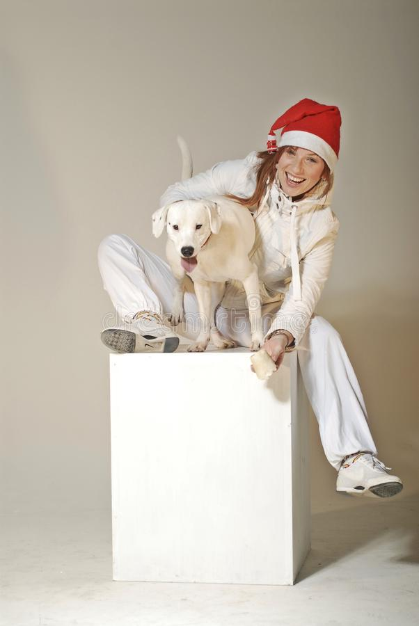 Download Xmas girl with dog stock photo. Image of sweet, christmas - 17378000