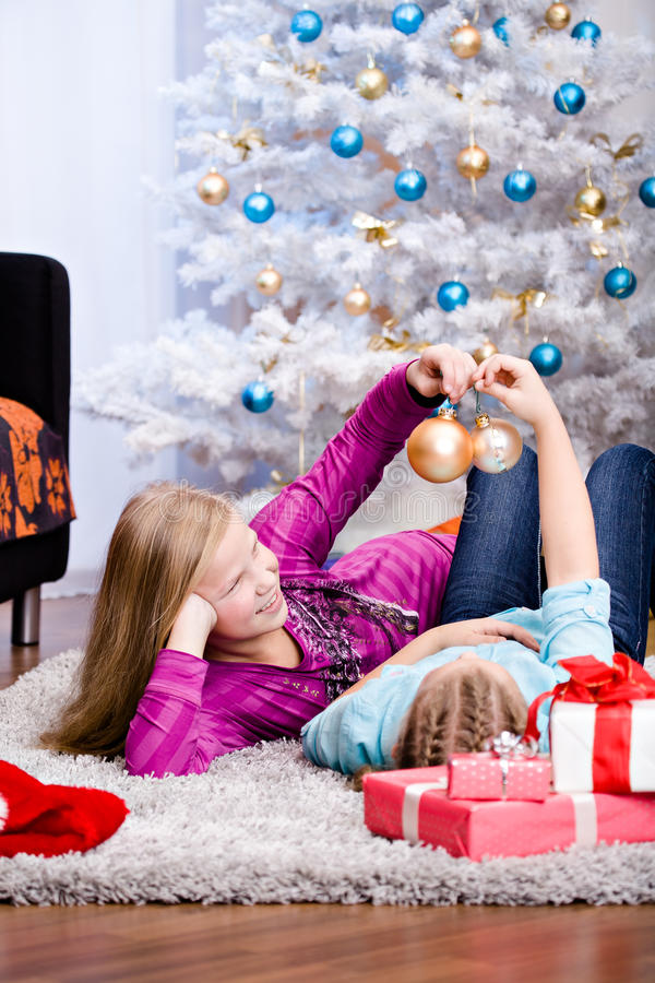 Download Xmas girls stock image. Image of face, holiday, gift - 27687633