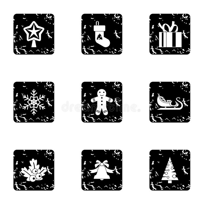 Xmas icons set, grunge style stock illustration