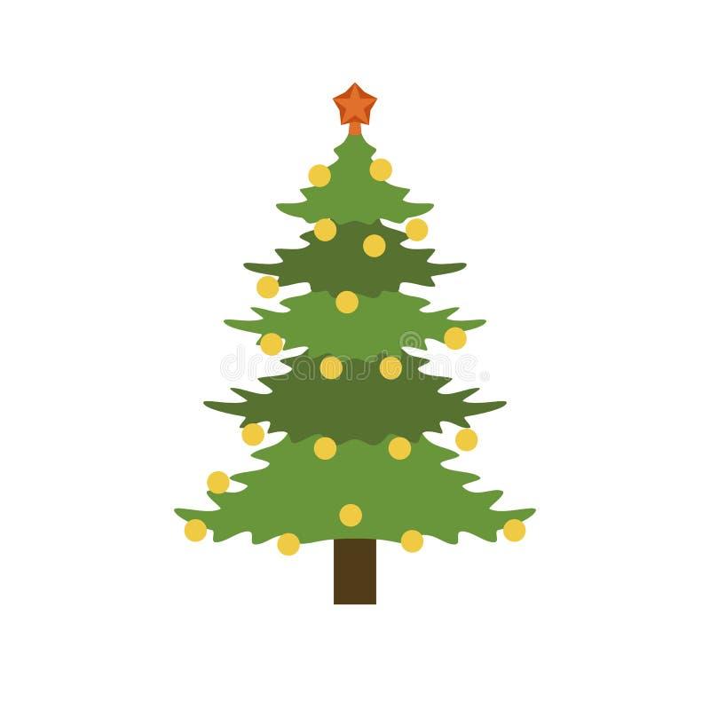 Xmas jedlinowego drzewa ikona, mieszkanie styl ilustracja wektor