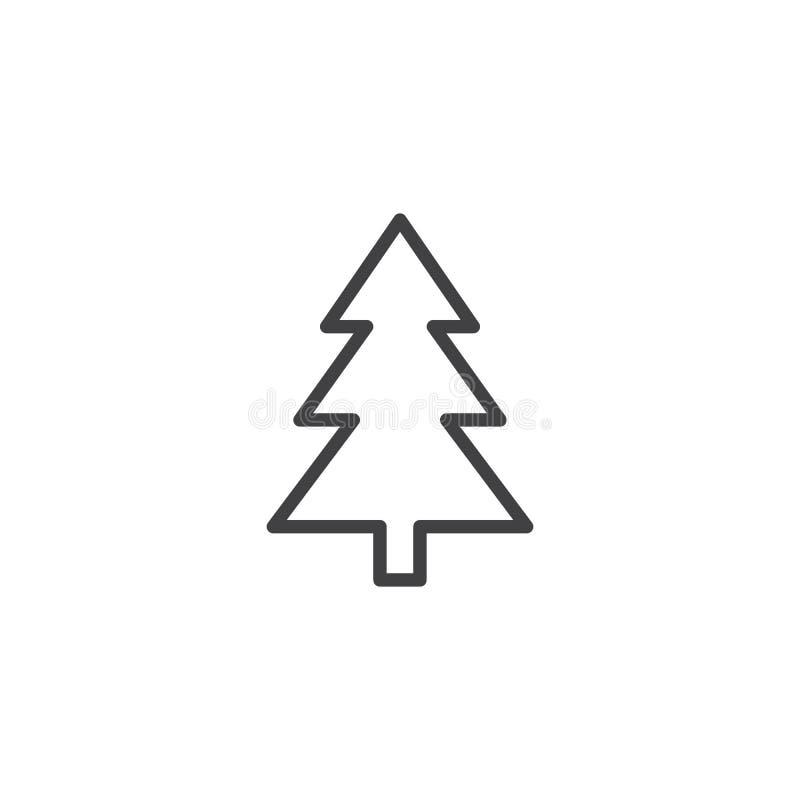 Xmas konturu drzewna ikona ilustracja wektor