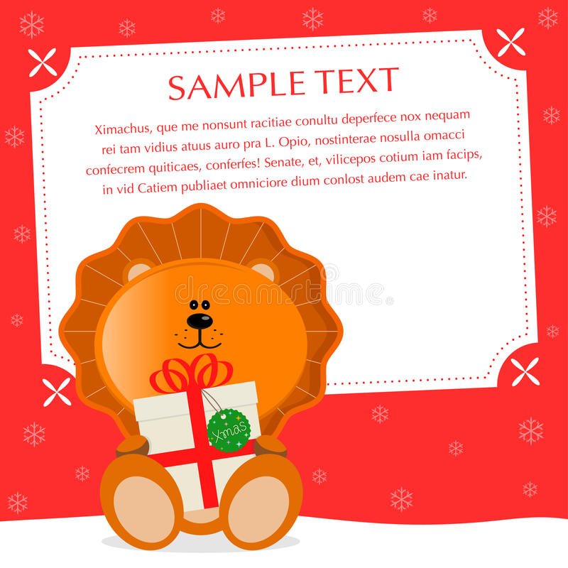 Xmas Lion. Amorous christmas greeting card. Sample text, place your text — personalize your message royalty free illustration