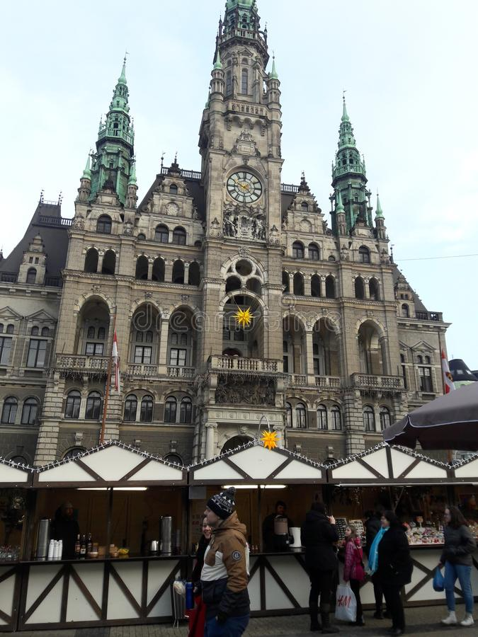 Xmas markets in Liberec city. Selling cocoa and chocolate and wine stock photo