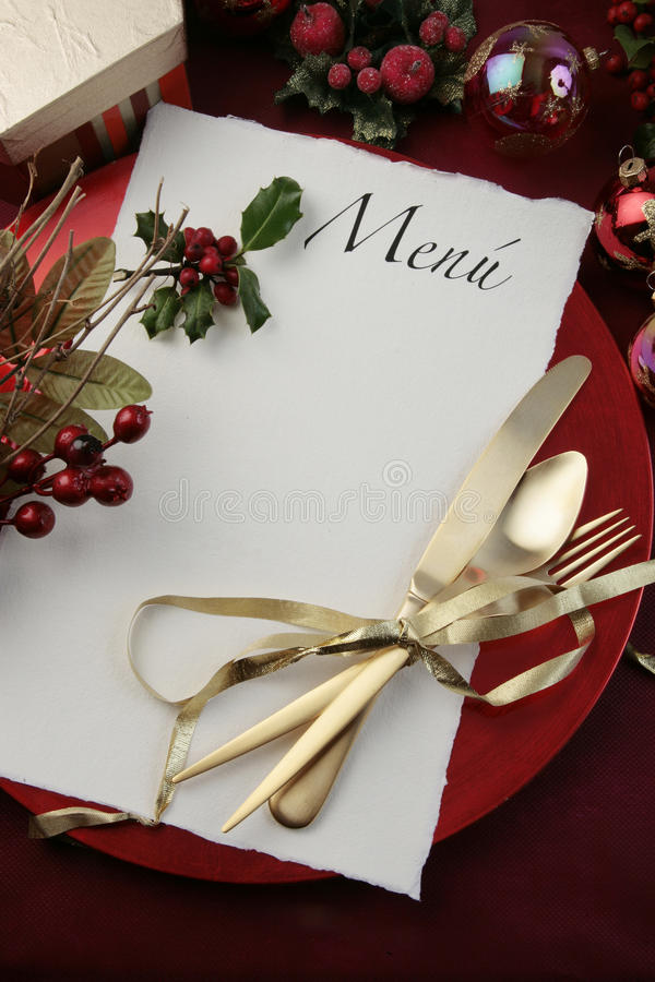 Download Xmas menu stock photo. Image of holly, knife, reataurant - 12157676