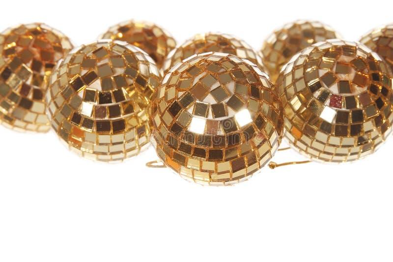 Xmas Mirror Golden Balls Stock Photo