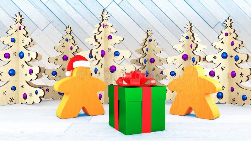 Xmas och nytt år i stilen av brädelekar Orange Meeples ställning för två vid en gåvaask Julpyntträd 3d framför royaltyfria bilder