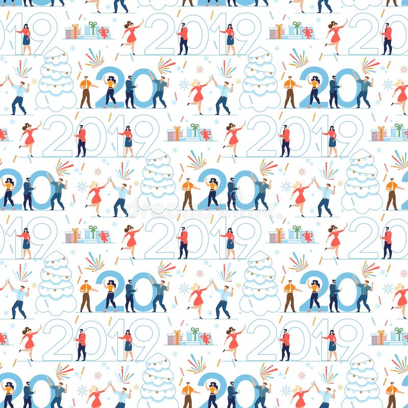 Xmas Office Party Design for Seamless Pattern stock illustration