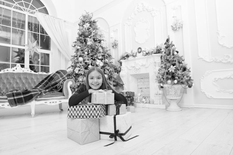Xmas online shopping. Family holiday. Christmas tree and presents. Happy new year. Winter. Tis the season to be Jolly. The morning before Xmas. Little girl royalty free stock photos