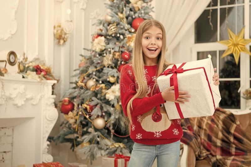 Xmas online shopping. Family holiday. Happy new year. Winter. The morning before Xmas. Little girl. Christmas tree and. Presents. Child enjoy the holiday royalty free stock photos