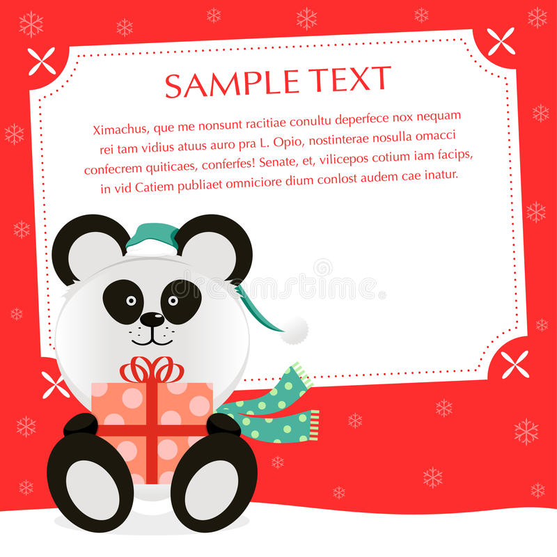 Xmas Panda royalty free illustration